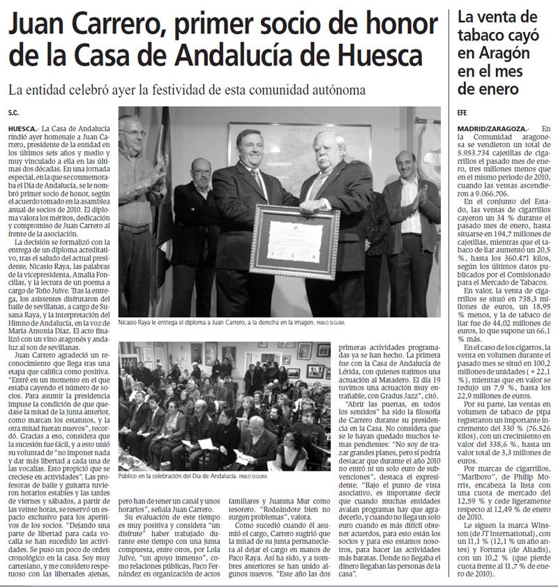 Juan carrero socio honor casa de andalucia de huesca